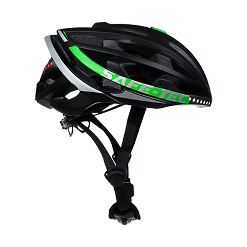 Safe-Tec Tyr 2 bicycle helmet with turn signal break lights and bone conduction speakers